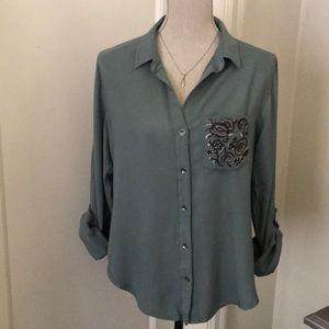 Rock & Republic floral embroidered pocket shirt